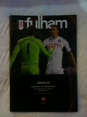 Fulham V/s Odense Bk Unread Matchday Programme 14.12.2011  Mint Condition