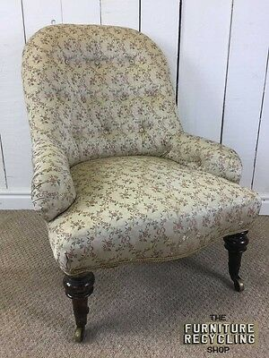 Victorian Nursing Chair, Button Back, Traditional, Bedroom Chair. Low Chair