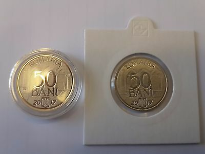 ROMANIA 50 bani 2017 coin 10 yrs Joining European UNION Rumänien NORMAL + PROOF