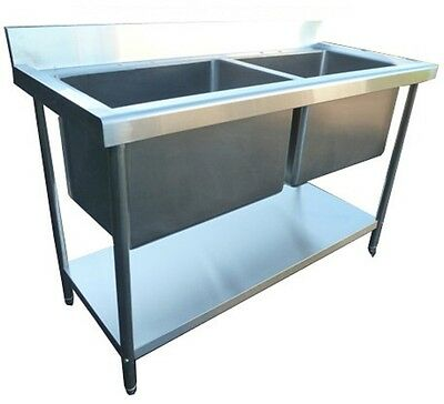 New Commercial Catering Stainless Steel Kitchen Sink Double Deep Bowl Pot Wash