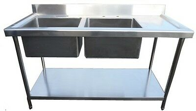 New Commercial Kitchen Stainless Steel Sink 1.5 Metre 150cm Double Bowl 4.9ft
