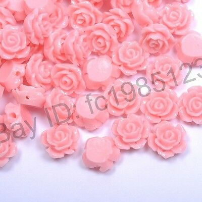 20pcs Pink Gorgeous Rose Flower Coral Spacer Beads 10MM