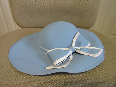 Stunning Eastex light blue hat with bow trimming