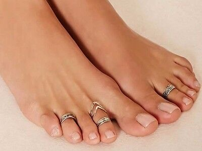 Set Of 5 Silver Tone Toe Rings Adjustable To Fit Most  - Uk Seller