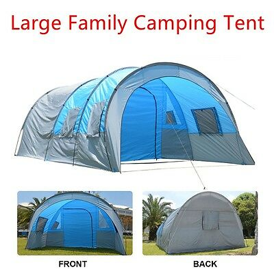 Large 6 Person Man Tunnel Family Camping Tent Waterproof PU 3000MM with Pegs&Bag