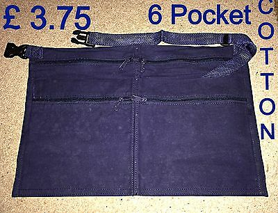 Market Trader 6 Pocket Navy Blue Cotton Money Bag