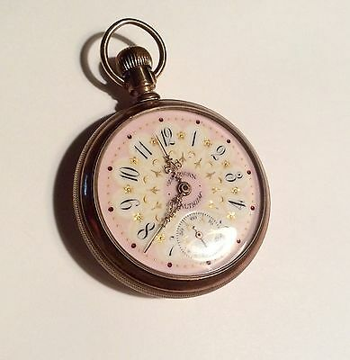 Antique gold filled American Waltham pocket watch - pink and gold dial - runs gr