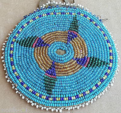 Native American Indian Beaded Hide Pouch Vintage