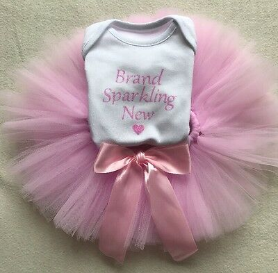 Personalised New Baby Girl Newborn Outfit Vest Top Bodysuit Sparking Pink Tutu