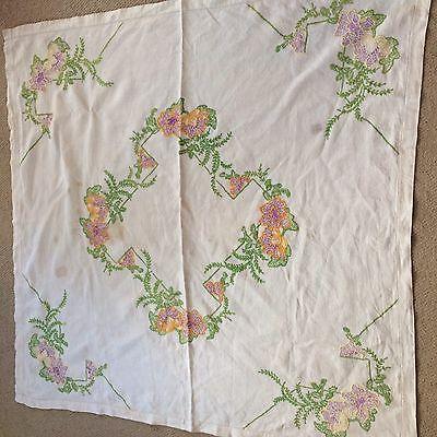 Vintage 1940's (?) Hand Embroidered Tablelcoth! Cream with Lovely colours!