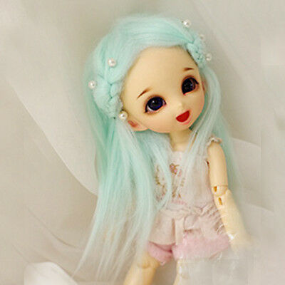 [wamami] Light Blue Long Wool Wig / Hair Suitable For 1/8 Ae Pukifee Lati Bjd