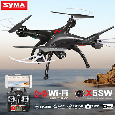 5 Batteries Syma X5SW FPV 2.4G 4CH RC Quadcopter Drone Wifi HD Camera +USB Cable