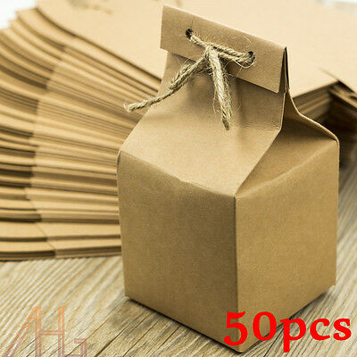 50Pcs Vintage Shabby Natural Kraft Wedding Rustic Favour DIY Gift Box Wrapping