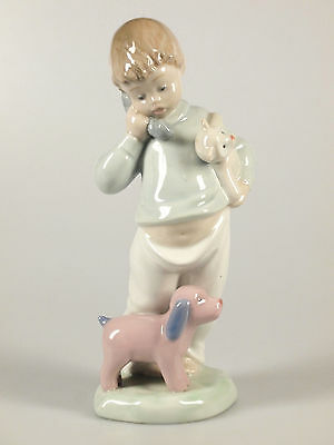 Nao by Lladro Boy with Telephone, Teddy and Small Dog