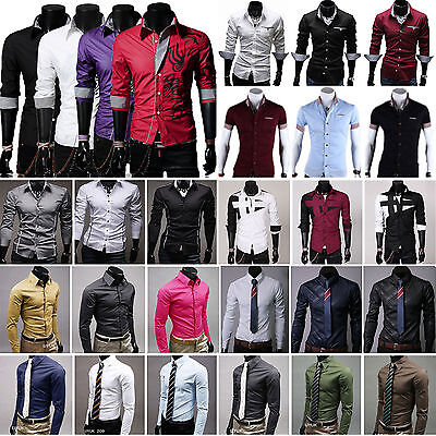 Mens Luxury Slim Fit Business Formal Dress Shirts Stylish Casual T-Shirt Top Tee