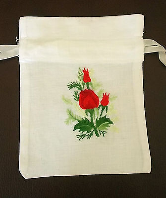 Hand Embroidery Draw Ribbon Gift Bag – Rose Design