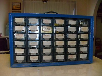 Metal cabinet, 36 drawers, electronic components in side, many NOS