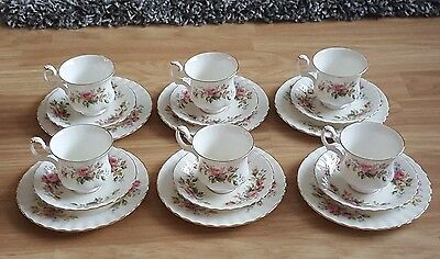 Royal Albert moss rose x6 coffee/ demitasse cup trios 1st quality