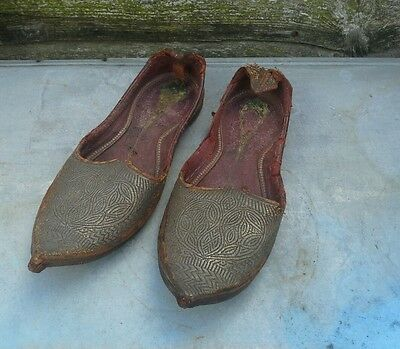 Antique 19Th Century Ottoman Silver Wire Embroidered Shoes