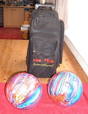 2 X Ten Pin Bowling Balls + Trolley