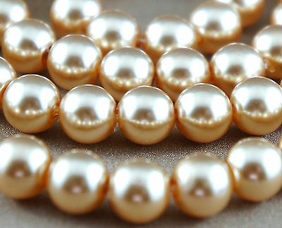 84pcs Pearl Beads 10mm Champagne Imitation Acrylic Round Loose Pearl Spacer