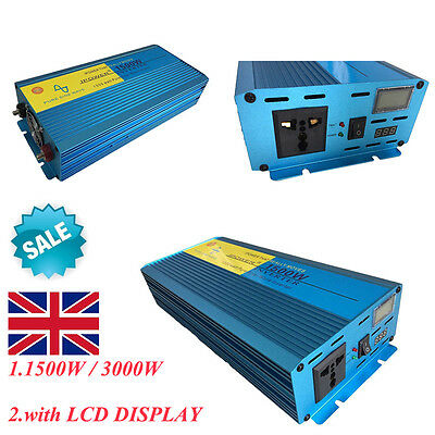 LCD Display Pure Sine Wave power inverter 1500W 3000W Car DC 12V to AC 230V