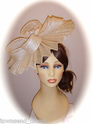 Mother of Bride Ascot Occasion Wedding Gwyther Snoxell Fascinator, Cream/Natural