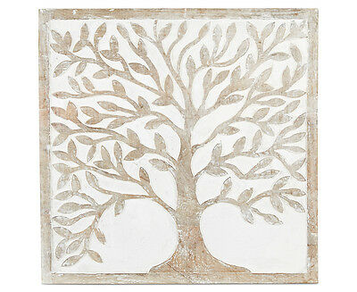 Wood-Carved Tree Of Life 60x60cm Wall Art - White/Brown
