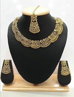 P 2 Indian Jewelry Bollywood Bridal Necklace Gold Ethnic Traditional Earring Set