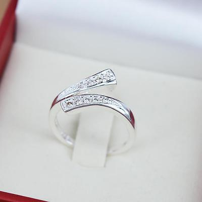 Sterling Silver 925 Cubic Zirconia Wishbone Thumb Finger Knuckle Wrap Ring R15