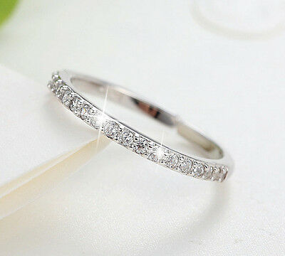 Sterling Silver 925 Plated CZ Eternity Knuckle Finger Stack Midi Toe Ring R19