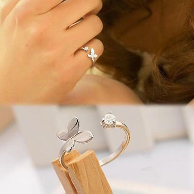 Sterling Silver 925 Plated Cubic Zirconia Butterfly Thumb Finger Toe Ring R32