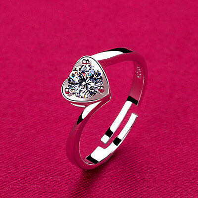 925 Sterling Silver Plated Heart Solitaire Stacking Finger Toe Ring R25
