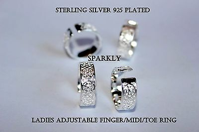 925 Sterling Silver 925 Plated Sparkly Adjustable Midi Finger Toe Ring R2