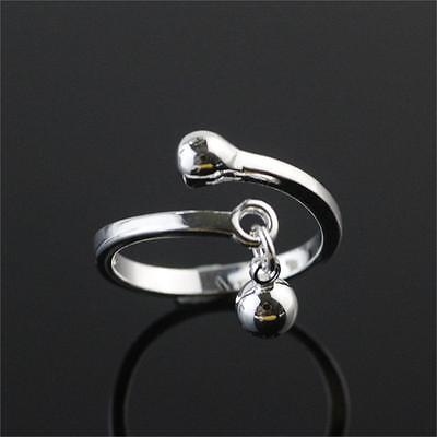 Sterling Silver 925 Plated Hanging Ball Finger Stack Midi Toe Wrap Ring R43