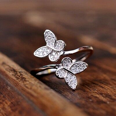 Sterling Silver 925 Plated Rhinestone Butterfly Thumb Finger Toe Wrap Ring R10