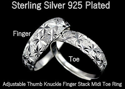 925 Sterling Silver Plated Sparkly Stars Stack Finger & Toe Ring R33
