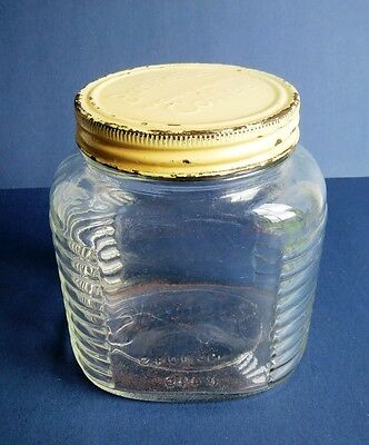 Vintage Deco BUSHELLS COFFEE Glass Jar / Canister with Embossed Lid & Base