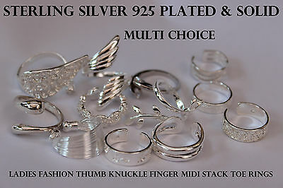 925 Sterling Silver Solid & Plated Thumb Knuckle Finger Stacking Midi Toe Rings