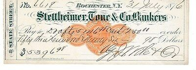 1876  Stettheimer, Tone & Co. Bankers Rochester, Ny  W/revenue Stamp
