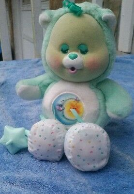 Care bear cubs bedtime 1986 kenner with pacifier booties vintage flocked plush
