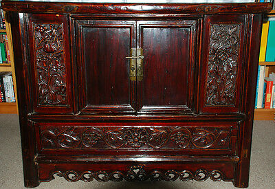 19th C Chinese brown laquered Elmwood Coffer