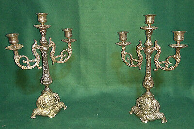 Pair of Vintage antique heavy brass 3 way candelabra candle holders