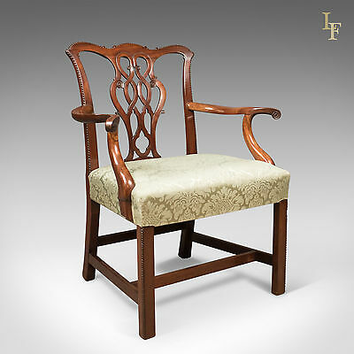 Antique Chair, Chippendale Influenced Carver Armchair, c.1800