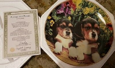 Franklin Mint porcelain plate - Puppies and Posies