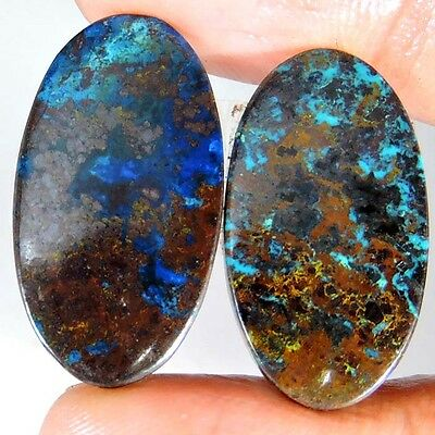 ATTRACTIVE 28.65cts NATURAL GORGEOUS BLUE AZURITE PAIR OVAL CABOCHON GEMSTONE