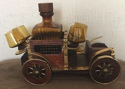 Awesome Wooden Car With Brown Glass Decanter & Four Glasses