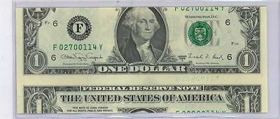 MAJOR ERROR 1988A Federal Reserve Note $1 MISCUT WITH 2 SERIAL NUMBERS UNC #E44