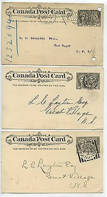 3 Old Canada Post Cards Stationary Diamond Jubilee Squared Circle Etc