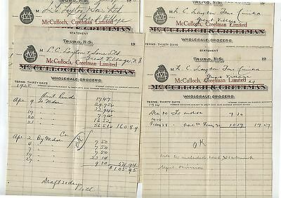 4 Old 1925 Letterheads McCulloch Creelman Wholesale Grocers Truro NS